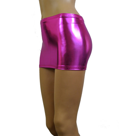 CS50 - Pink Metallic Wetlook Lycra Micro Mini Skirt (9-10 Inch Length)