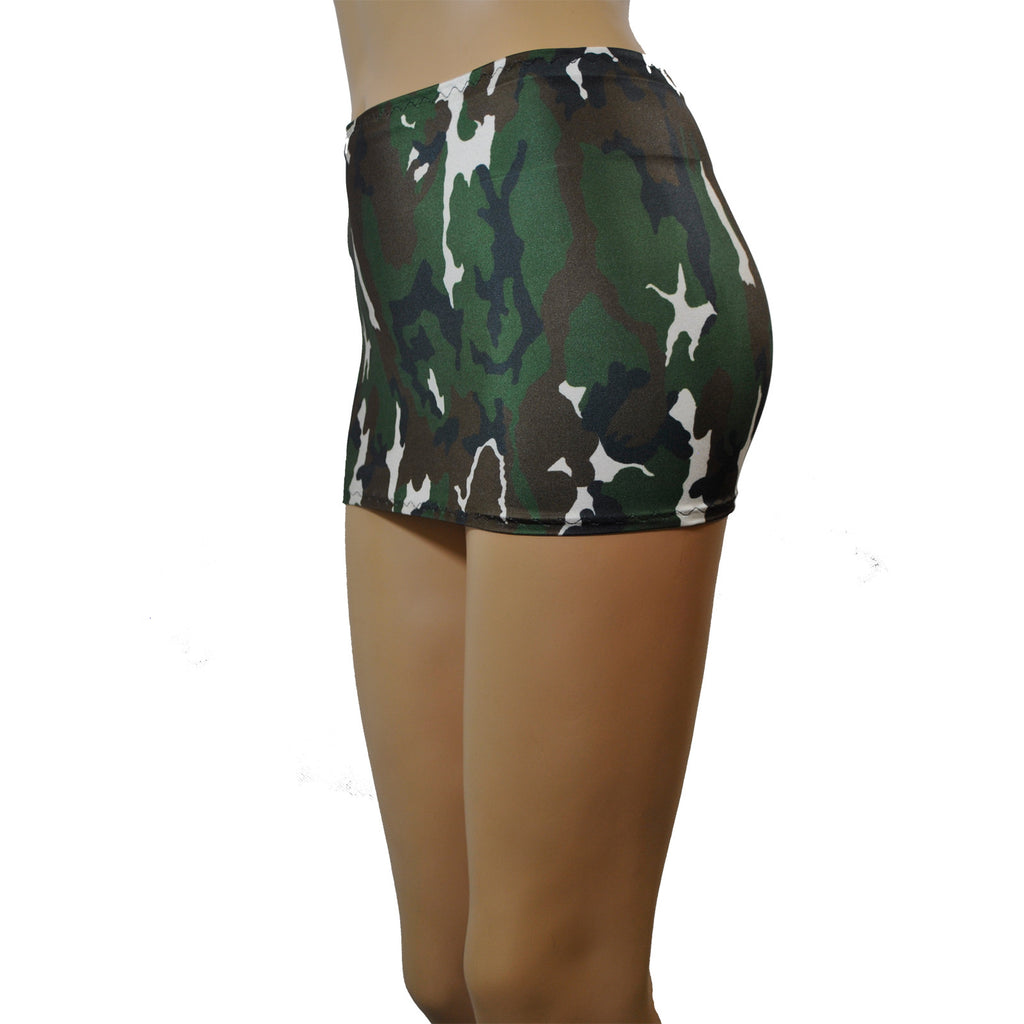 CS63 - Green Army Camo Lycra Micro Mini Skirt (9-10 Inch Length)