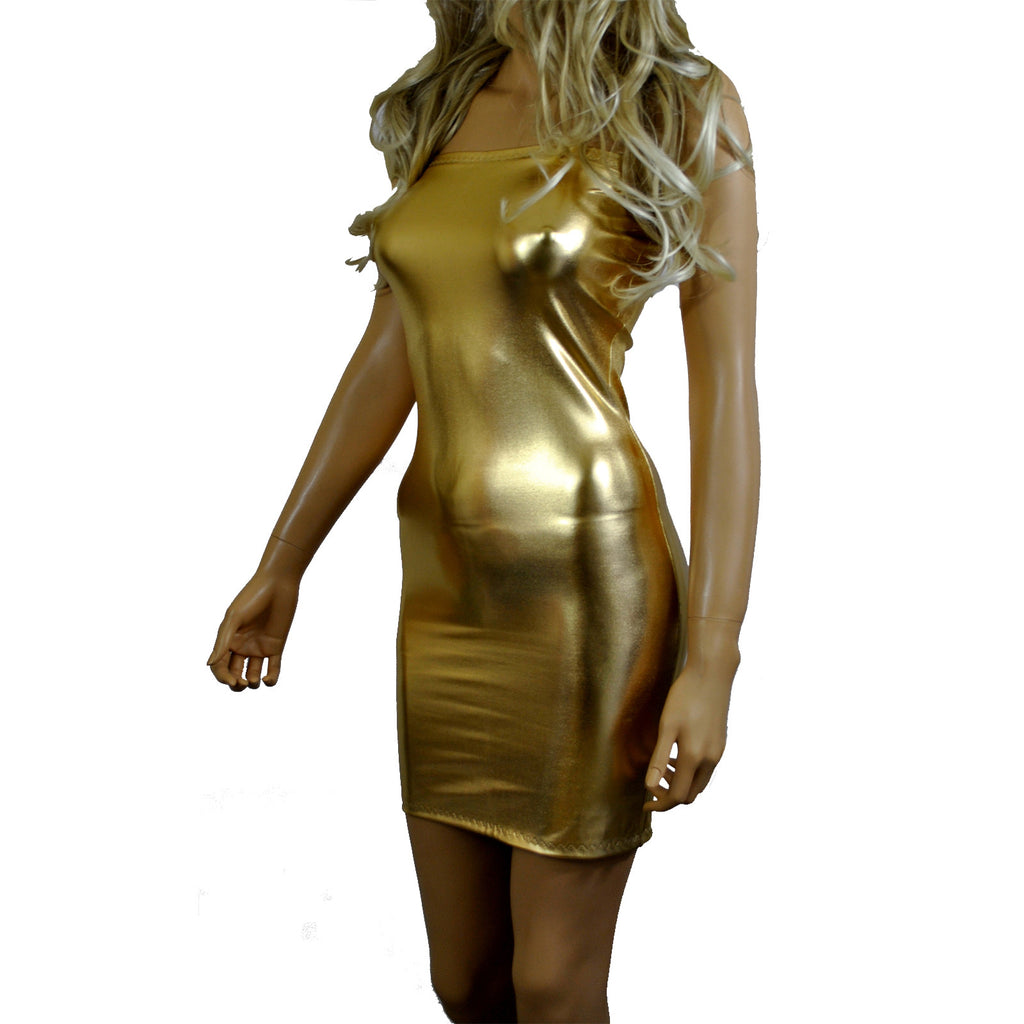 D106 - Gold Metallic Wetlook Tube Mini Dress (25-26 inch length)