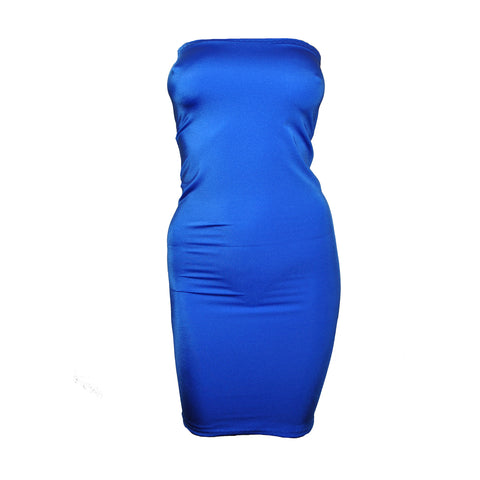 D55 - Electric Blue Lycra Boob Tube Mini Dress (25-26 inch length)