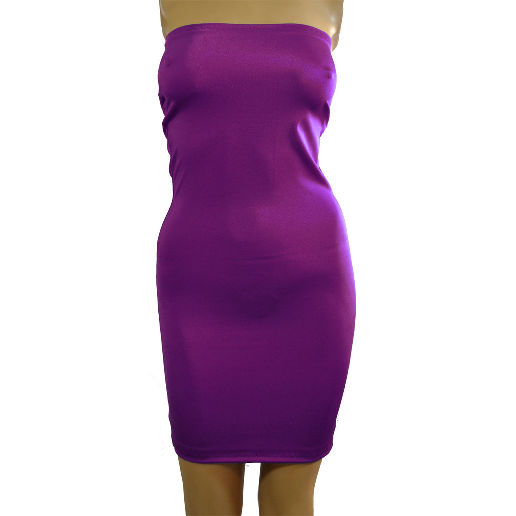D59 - Purple Boob Tube Mini Dress (25-26 inch length)