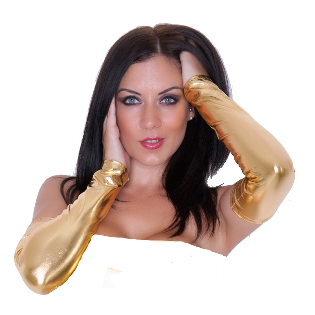 G106 - Gold Metallic Wet Look Lycra Arm Warmers Gauntlets