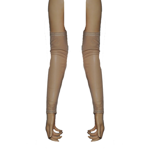 G130 - Beige Nude Net Arm Warmers Gauntlets