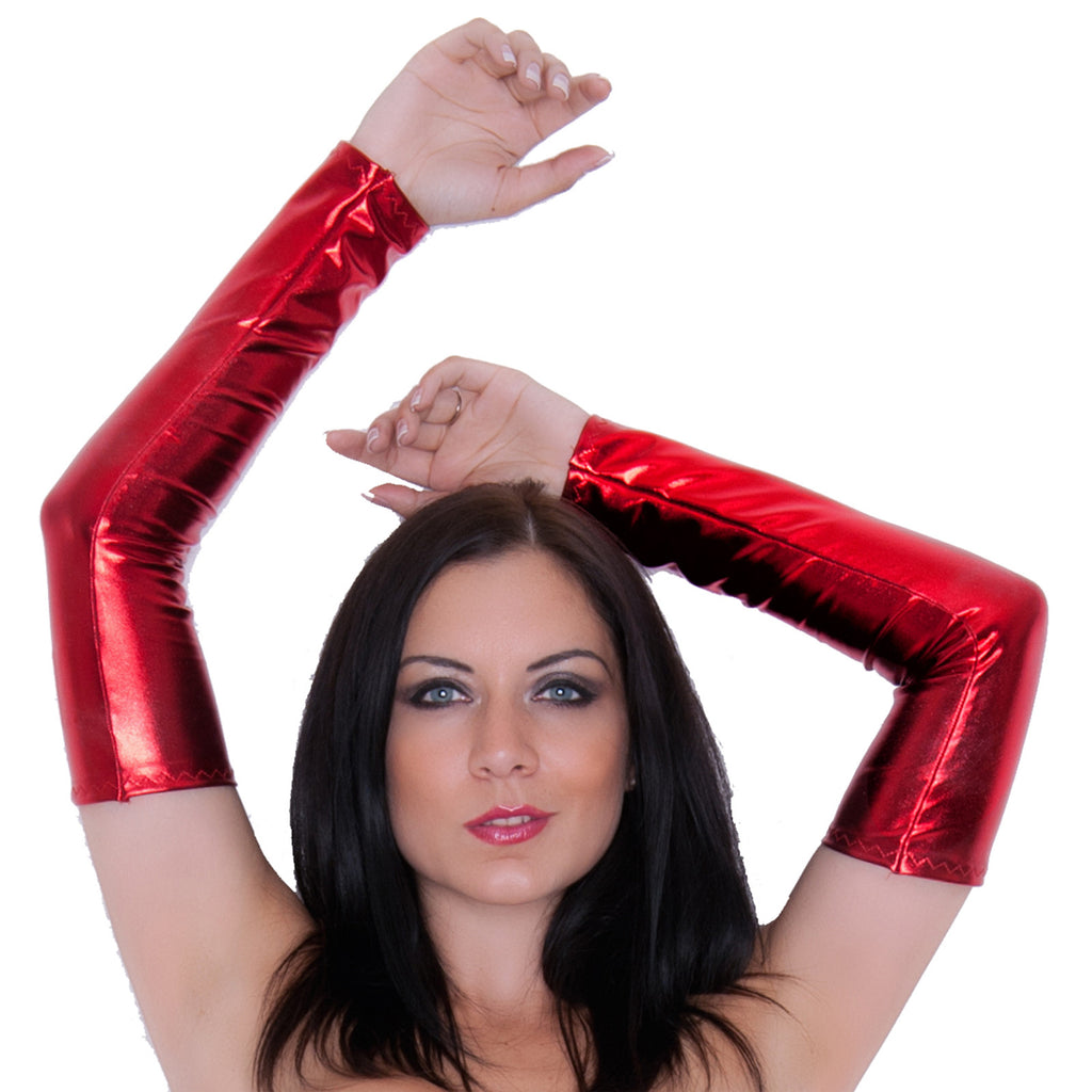 G132 - Red Metallic Wet Look Lycra Arm Warmers Gauntlets
