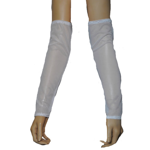 G27 - White Net Arm Warmers Gauntlets