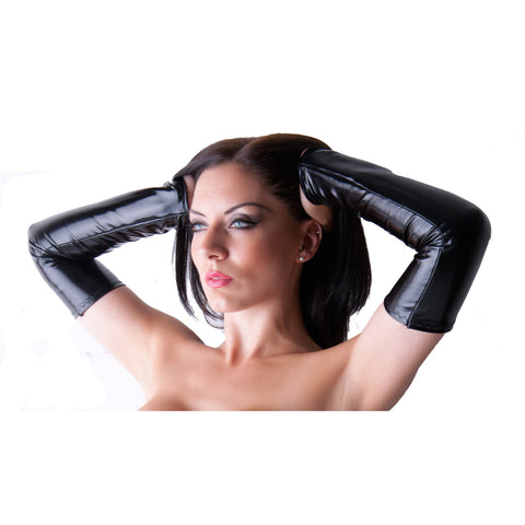 G33 - Black Wet Look Lycra Arm Warmers Gauntlets