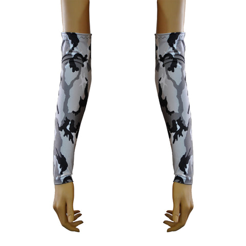 G38 - Black White and Grey Army Camo Lycra Arm Warmers Gauntlets
