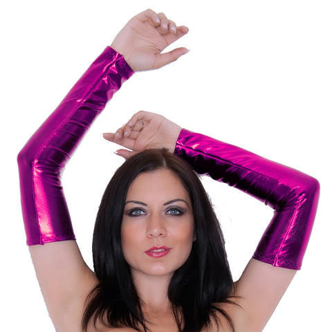 G50 -  Pink Metallic Wetlook Lycra Spandex Arm Warmers Gauntlets