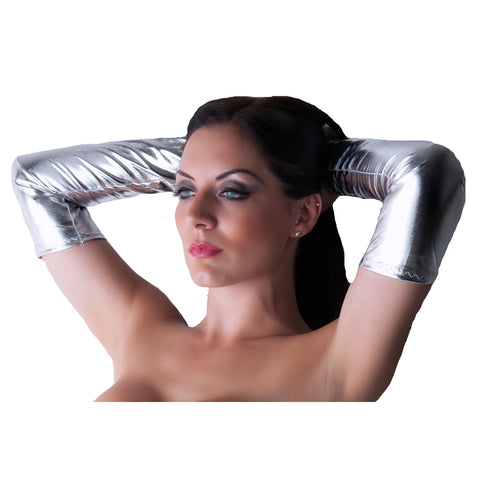 G87 - Silver Metallic Wet Look Lycra Arm Warmers Gauntlets
