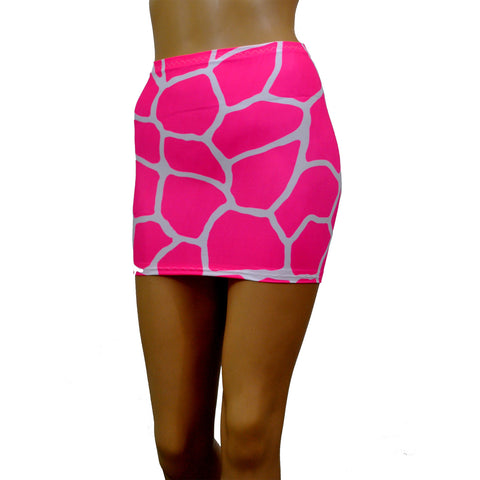 S141 - UV Giraffe Animal Print Lycra Mini Skirt (12-13 Inch Length)