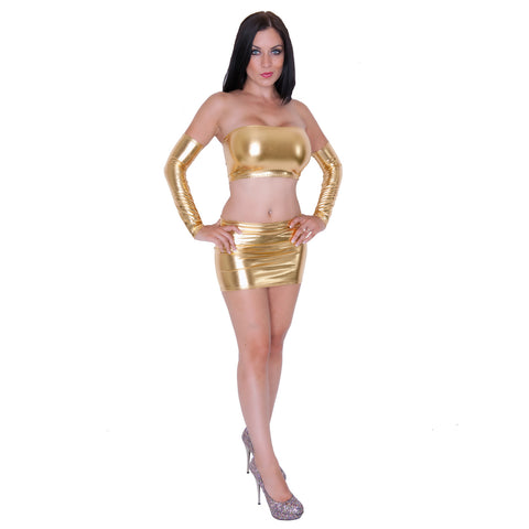 O106 - Gold Metallic Lycra Clubbing Outfit (Boobtube / Gauntlet / Skirt (12-13 Inch Length))
