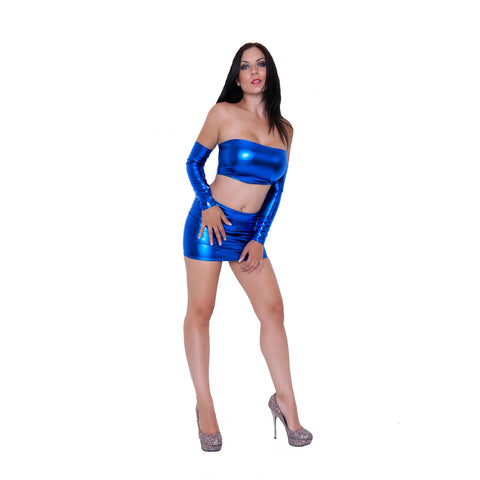 O140 -  Blue Metallic Wetlook Lycra Clubbing Outfit (Boobtube / Gauntlet / Skirt (12-13 Inch Length))