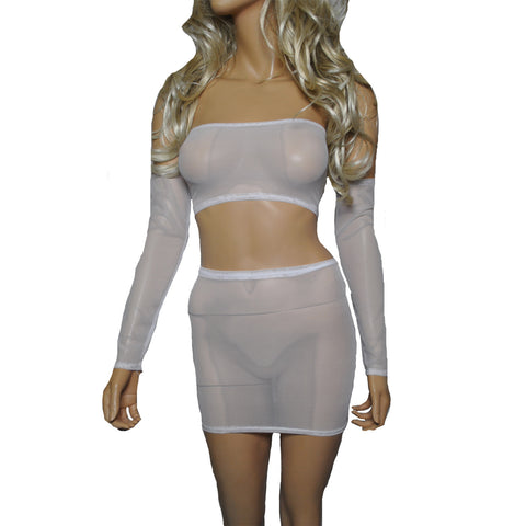 O27 - White Net Clubbing Outfit (Boobtube / Gauntlet / Skirt (12-13 Inch Length))