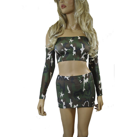 O63 - Arm Camo Lycra Clubbing Outfit (Boobtube / Gauntlet / Skirt (09-10 inch length))