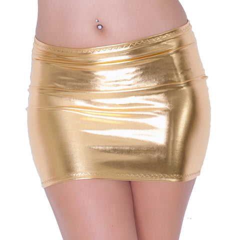 S106 - Gold Metallic Lycra Mini Skirt (12-13 Inch Length)