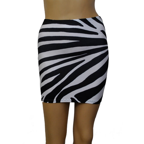 S143 - Black & White Zebra Animal Print Lycra Mini Skirt (12-13 Inch Length)