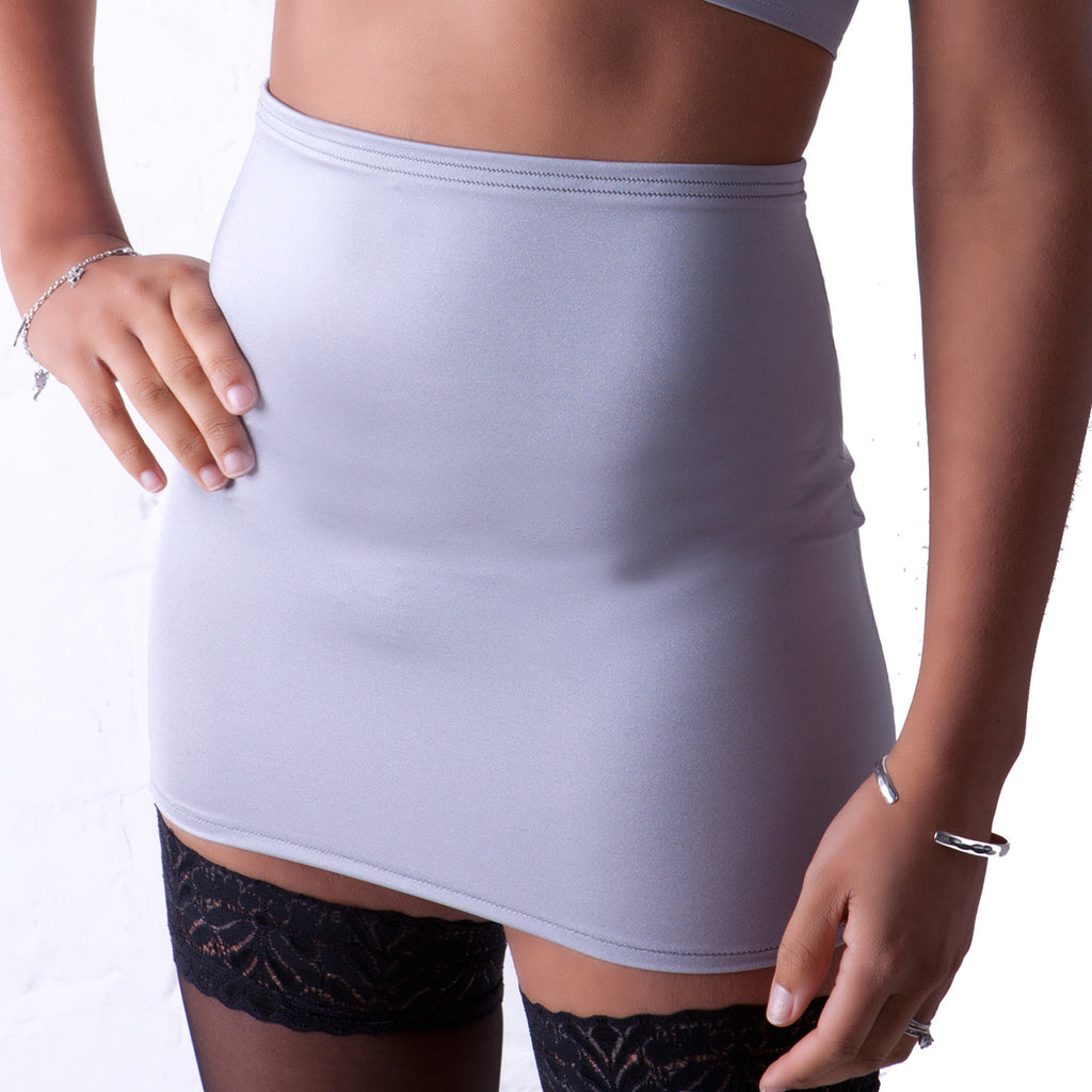 S19 - Silver Lycra Mini Skirt (12-13 Inch Length)