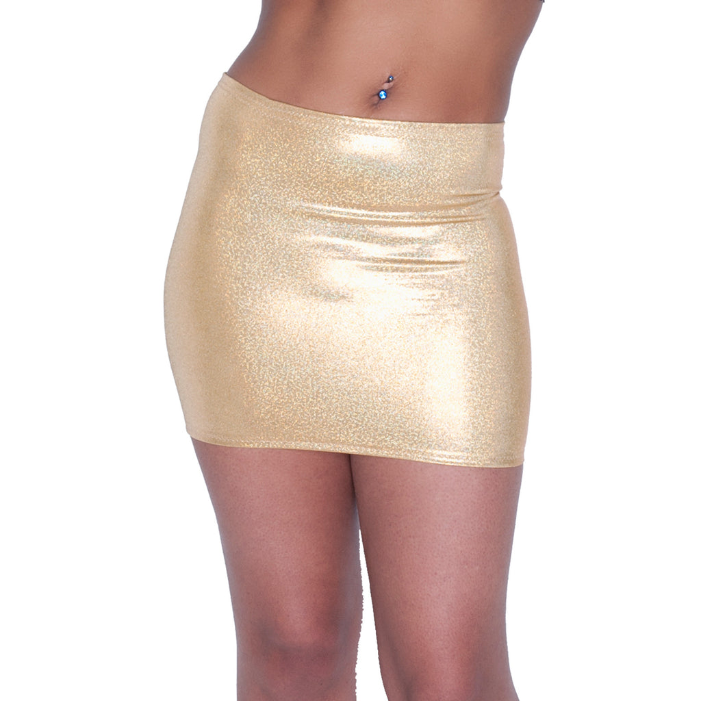 S37 - Gold Metallic Holographic Lycra Mini Skirt (12-13 Inch Length)