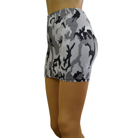 S38 - Black White and Grey Army Camo Lycra Mini Skirt (12-13 Inch Length)
