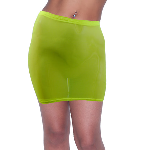S57 - Bright UV Yellow Net Mini Skirt (12-13 Inch Length)