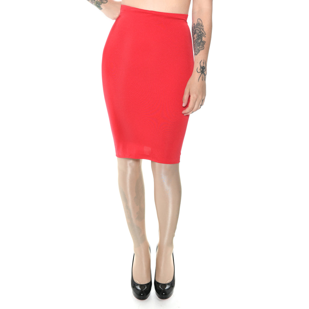 P29 - Red Lycra Pencil Skirt (21-22 Inch Length)