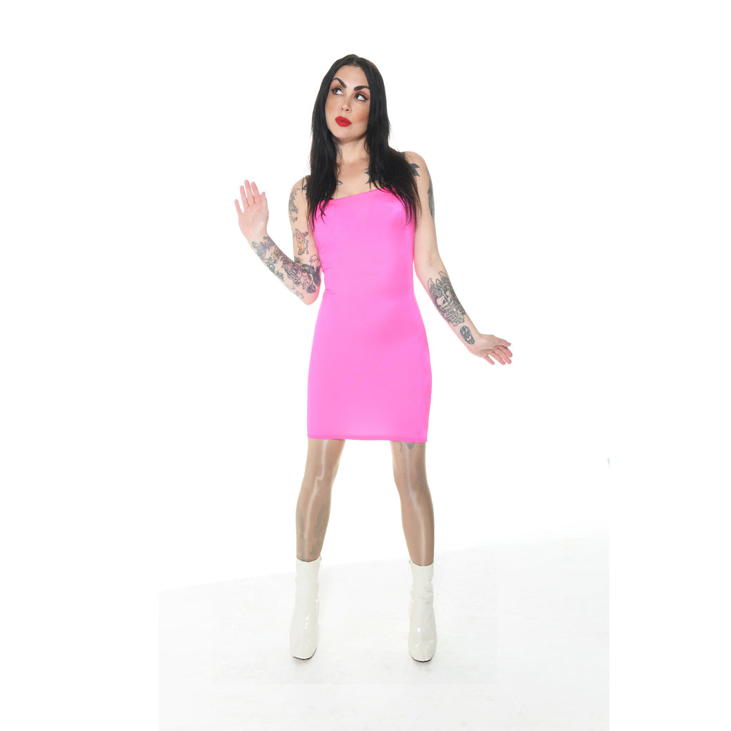 D09 - UV Pink Boob Tube Mini Dress (25-26 inch length)