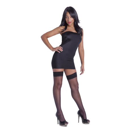 XD1 - Black Lycra Boob Tube Mini Dress (25-26 inch length)