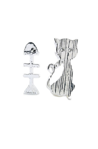 Cat & Fishbone Earrings