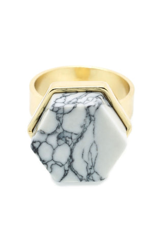 Marble Hexagon Ring - lvndr  - 1
