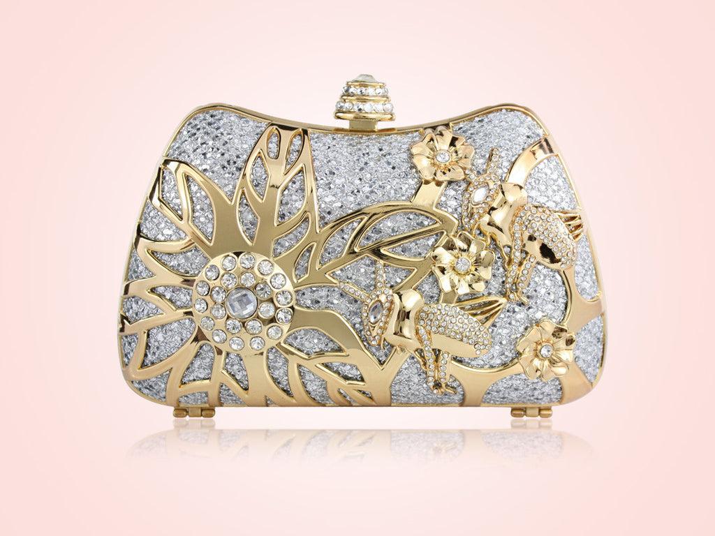 Spring Bloom Clutch - Silver & Gold