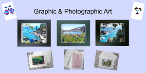 Several pieces of Graphic and Photographic Art by Pam Ponsart available for purchase in the gift ship