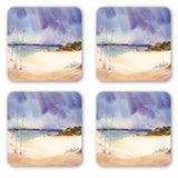 Beach Decor Coasters: Watercolor art by PonsART $20.00 - PAMELA'S ART by PonsART - a Gift Shop and Marketplace