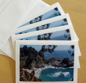 Big Sur Waterfall: 4-pc Greeting Card set by PonsART $19.95 - PAMELA'S ART by PonsART - a Gift Shop and Marketplace