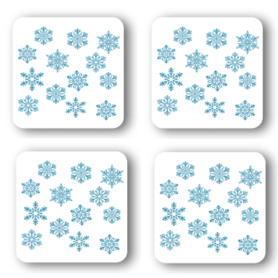 Blue Snowflakes Coasters: A 4-piece set by PonsArt $20.00 - PAMELA'S ART by PonsART - a Gift Shop and Marketplace