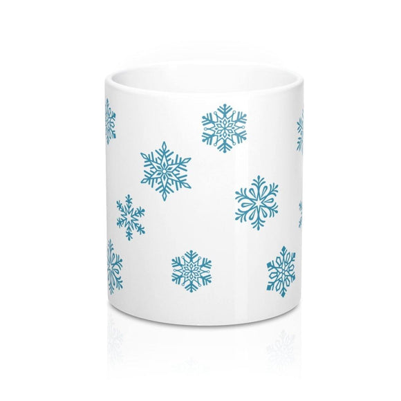 Blue Snowflakes Mug: White ceramic; by PonsART $23.25 - PAMELA'S ART by PonsART - a Gift Shop and Marketplace