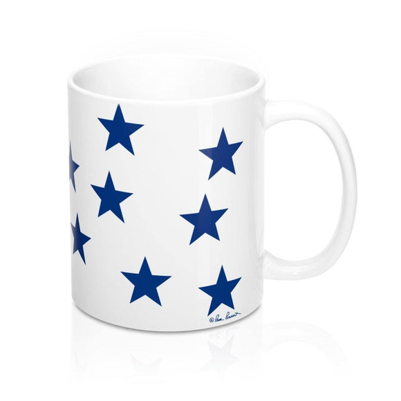 Blue Stars Mug: White ceramic; by PonsART $23.25 - PAMELA'S ART by PonsART - a Gift Shop and Marketplace