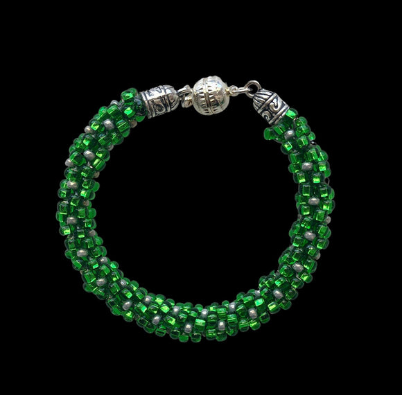Bright Green Bracelet: Beaded; Kumihimo; Elegant; $45.00 - PAMELA'S ART by PonsART - a Gift Shop and Marketplace