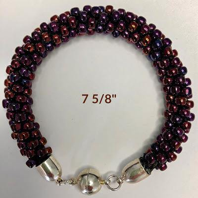 Burgundy-Brown Beaded Bracelet: Handcrafted; $45.00 - PAMELA'S ART by PonsART - a Gift Shop and Marketplace