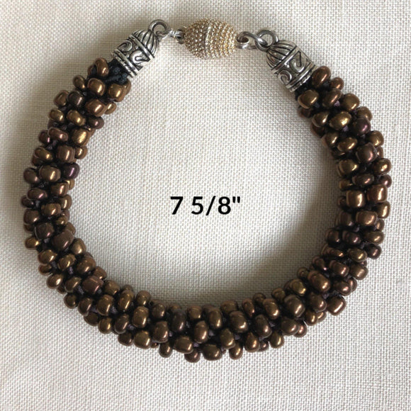 Chocolate-Brown Beaded Bracelet: Handcrafted $45.00 - PAMELA'S ART by PonsART - a Gift Shop and Marketplace