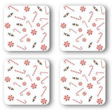 Coasters with Candy-Canes: A 4-pc. set; by PonsArt $20.00 - PAMELA'S ART by PonsART - a Gift Shop and Marketplace