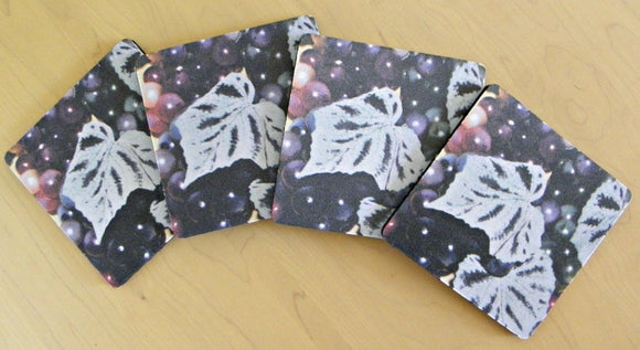 Coasters with Grapes: A 4-piece set by PonsART; $20.00 - PAMELA'S ART by PonsART - a Gift Shop and Marketplace