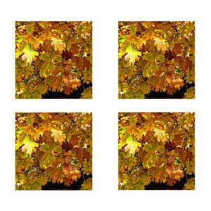 Coasters with Leaves: A 4-piece set from PonsART $20.00 - PAMELA'S ART by PonsART - a Gift Shop and Marketplace