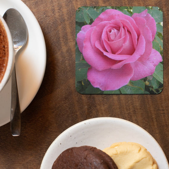 Coasters with Pink Rose: A 4-pc. set by PonsART; $20.00 - PAMELA'S ART by PonsART - a Gift Shop and Marketplace