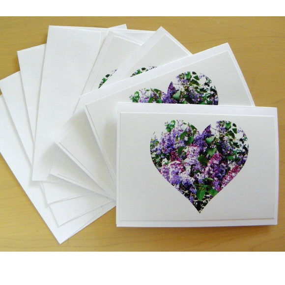 Lilac Love Note Cards: A 4-piece set; by PonsART $17.95 - PAMELA'S ART by PonsART - a Gift Shop and Marketplace