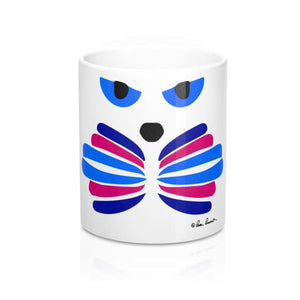 Mug with Cat-Face: White; Ceramic; by PonsART $23.25 - PAMELA'S ART by PonsART - a Gift Shop and Marketplace