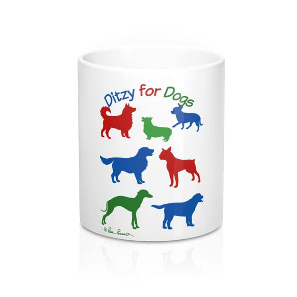 Mug with Dogs: White ceramic; by PonsART $23.25 - PAMELA'S ART by PonsART - a Gift Shop and Marketplace