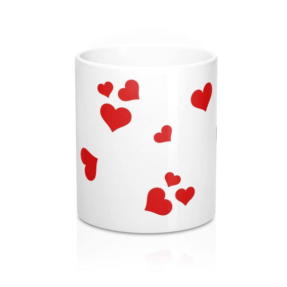 Mug with Hearts: White ceramic; 11 oz; by PonsART $23.25 - PAMELA'S ART by PonsART - a Gift Shop and Marketplace