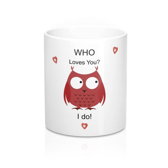 Mug with Owl: White; 11 oz. Ceramic; by PonsART $23.25 - PAMELA'S ART by PonsART - a Gift Shop and Marketplace