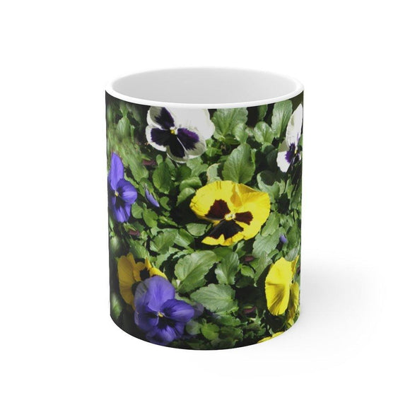 Mug with Pansies: White; Ceramic; by PonsART $23.25 - PAMELA'S ART by PonsART - a Gift Shop and Marketplace