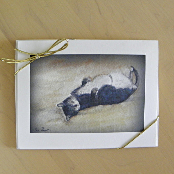 Note Card Set: 4-pcs. Sleeping Cat by PonsART $12.95 - PAMELA'S ART by PonsART - a Gift Shop and Marketplace